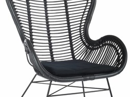 J-Line Lounge chair rattan black