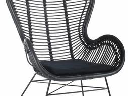 J-Line Lounge stoel rotan zwart