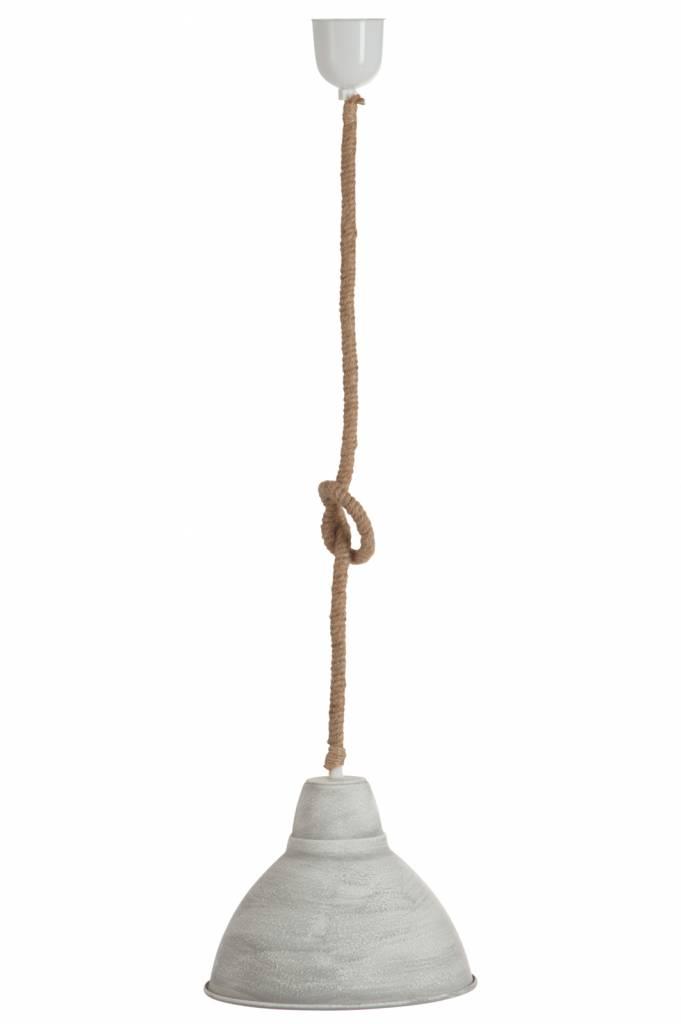 J-Line Hanging lamp metal & rope grey