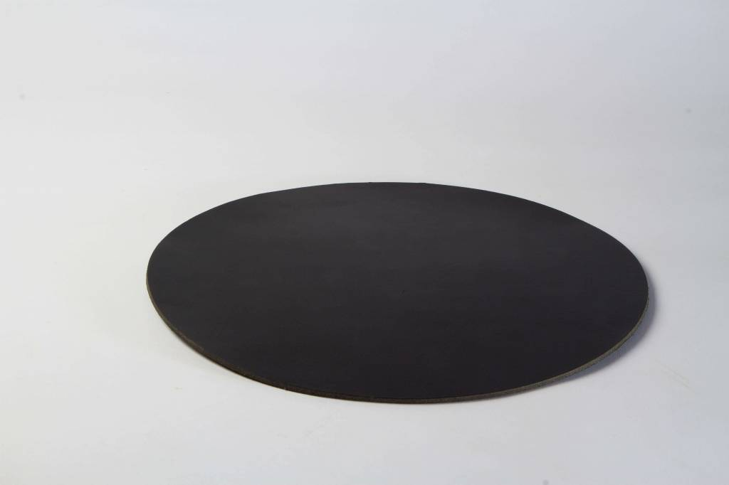 Double Stitched Leather placemat round black