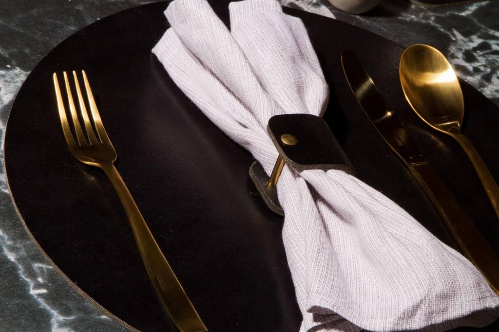 Double Stitched Lederen placemat rond zwart