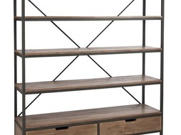 J-Line Bookshelf drawers wood & metal