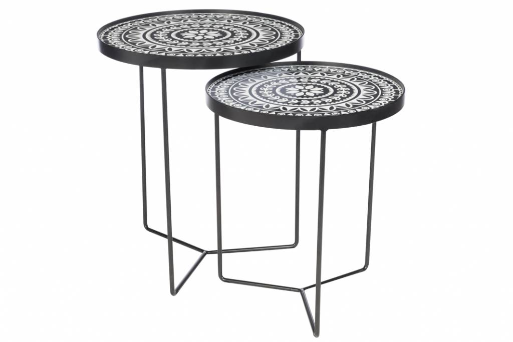 J-Line Set 2 nesting tables Boho