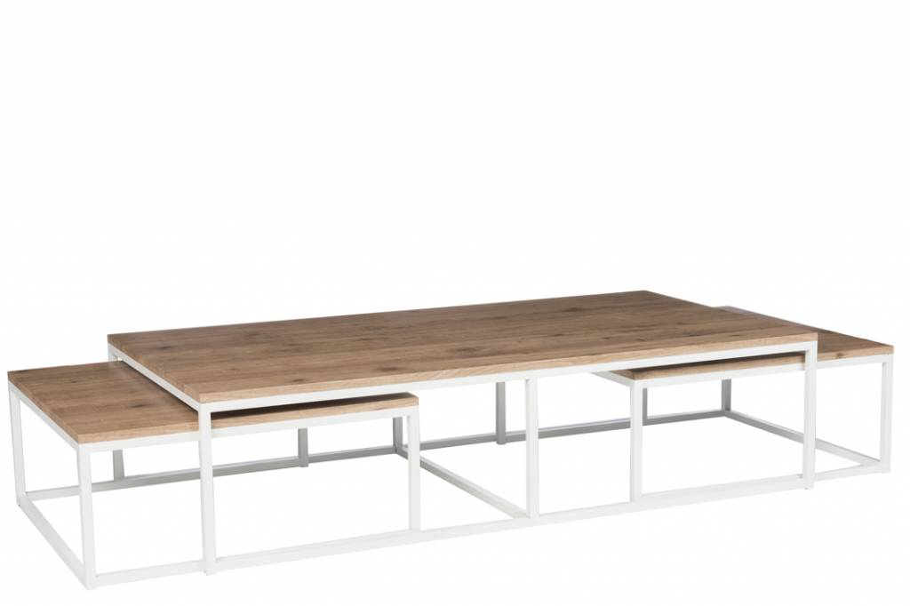 J-Line Salontafel set wit en naturel