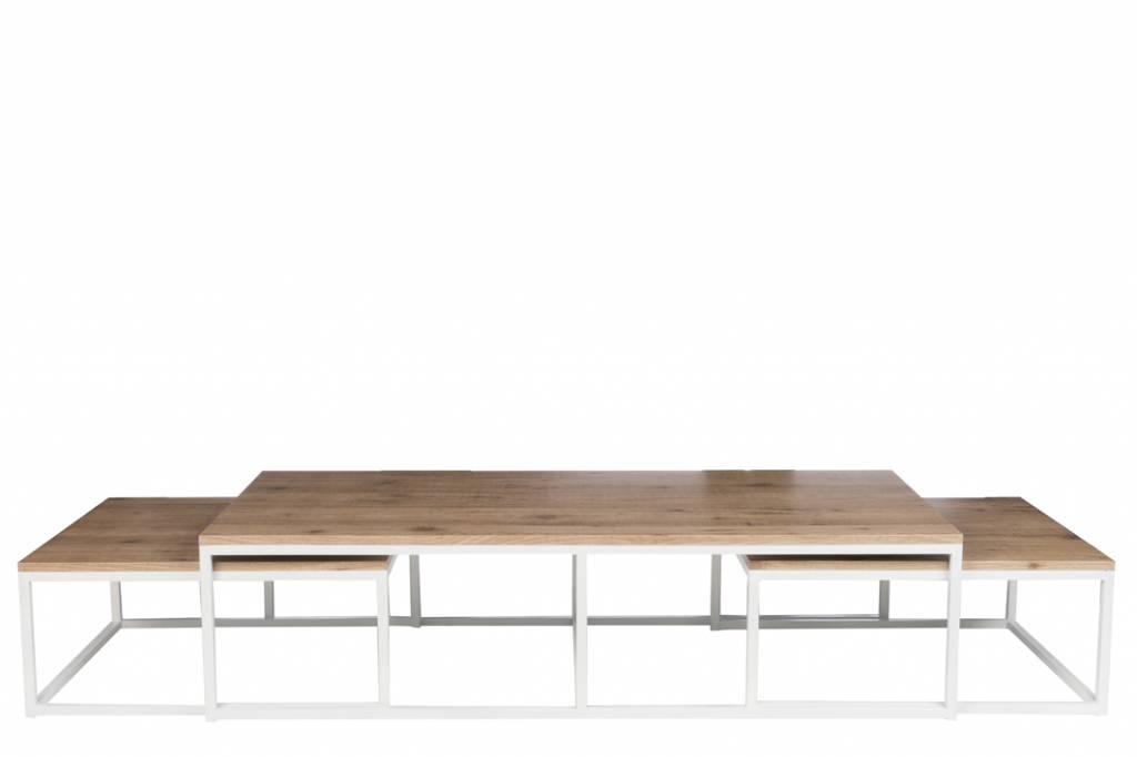 J-Line Coffeetable set white metal & natural wood