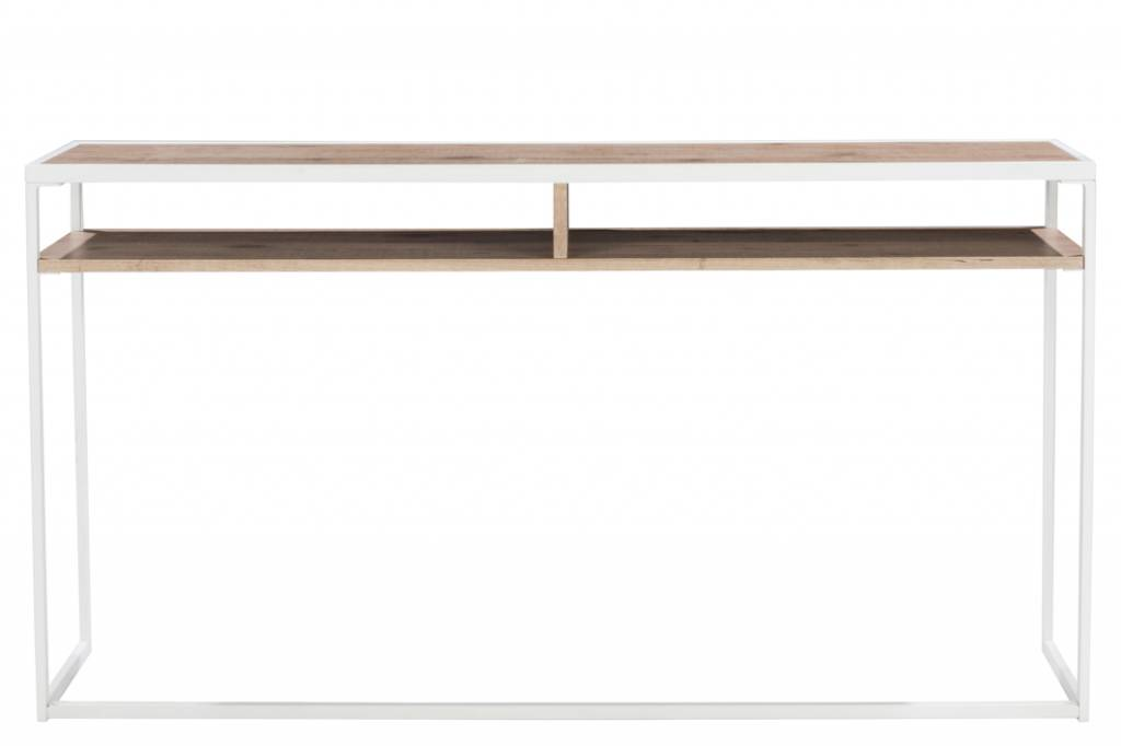 J-Line Console white metal & natural wood
