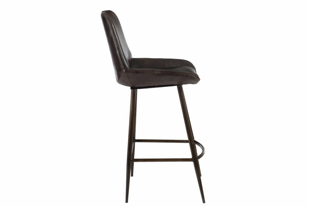 J-Line Barchair leather & metal dark brown
