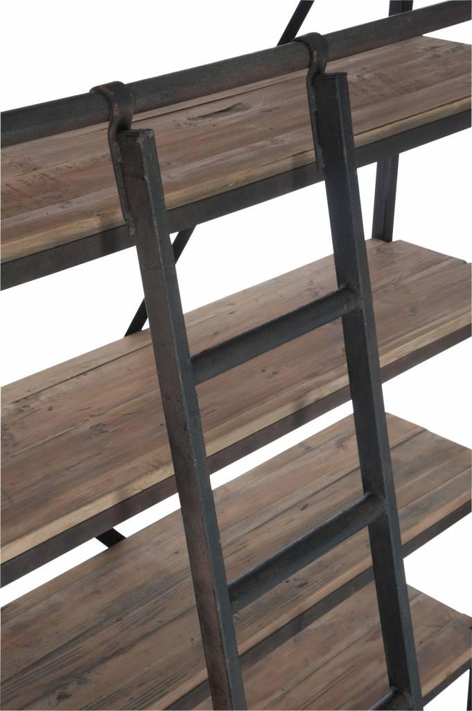 J-Line Bookshelf 4 drawers metal & wood