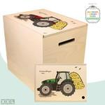 Herinner-Dingen-Doos Tractor met Hooiberg [diverse kleuren]