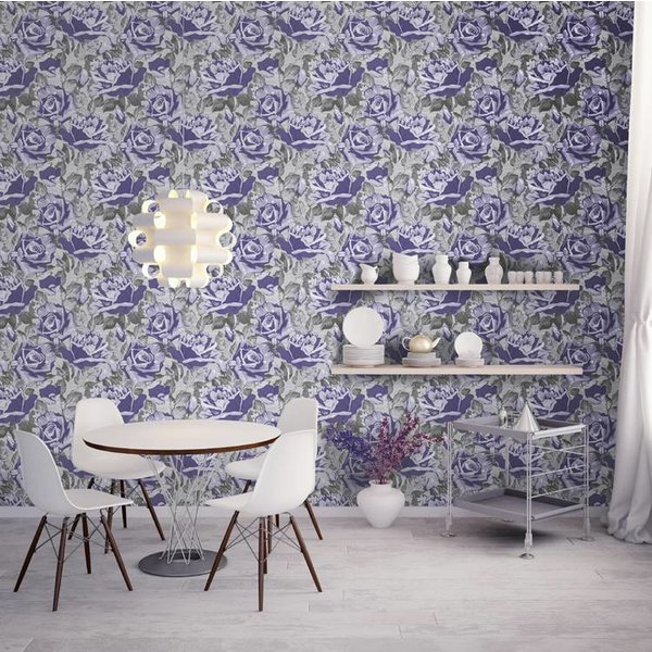 Dutch Wallcoverings San Priamo bloem lila/grijs