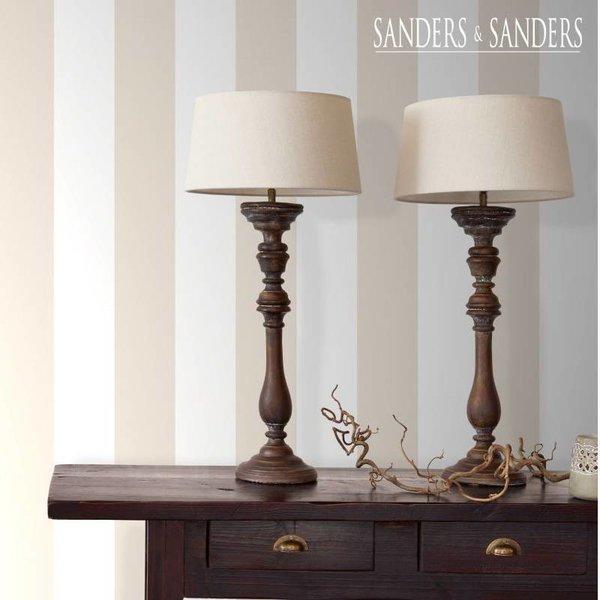 HD vliesbehang brede streep beige en wit