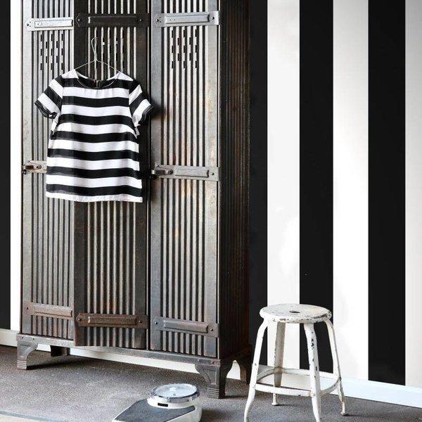 HD vliesbehang brede streep zwart en wit