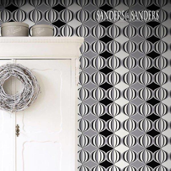 HD vliesbehang retro delight zwart, wit en grijs