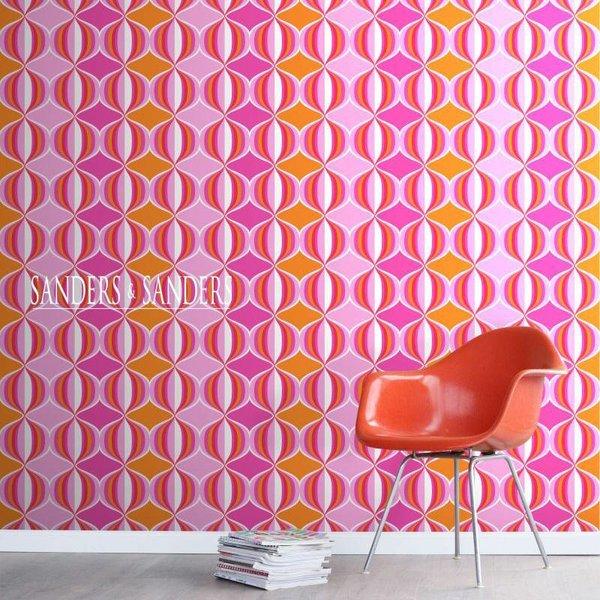 HD vliesbehang retro delight roze en oranje