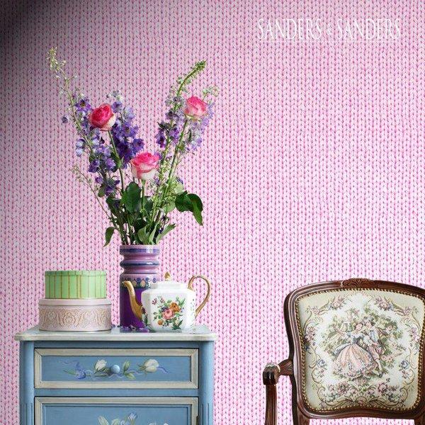 HD vliesbehang borduursel zacht roze