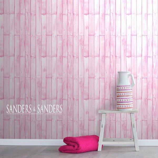 HD vliesbehang hout licht roze