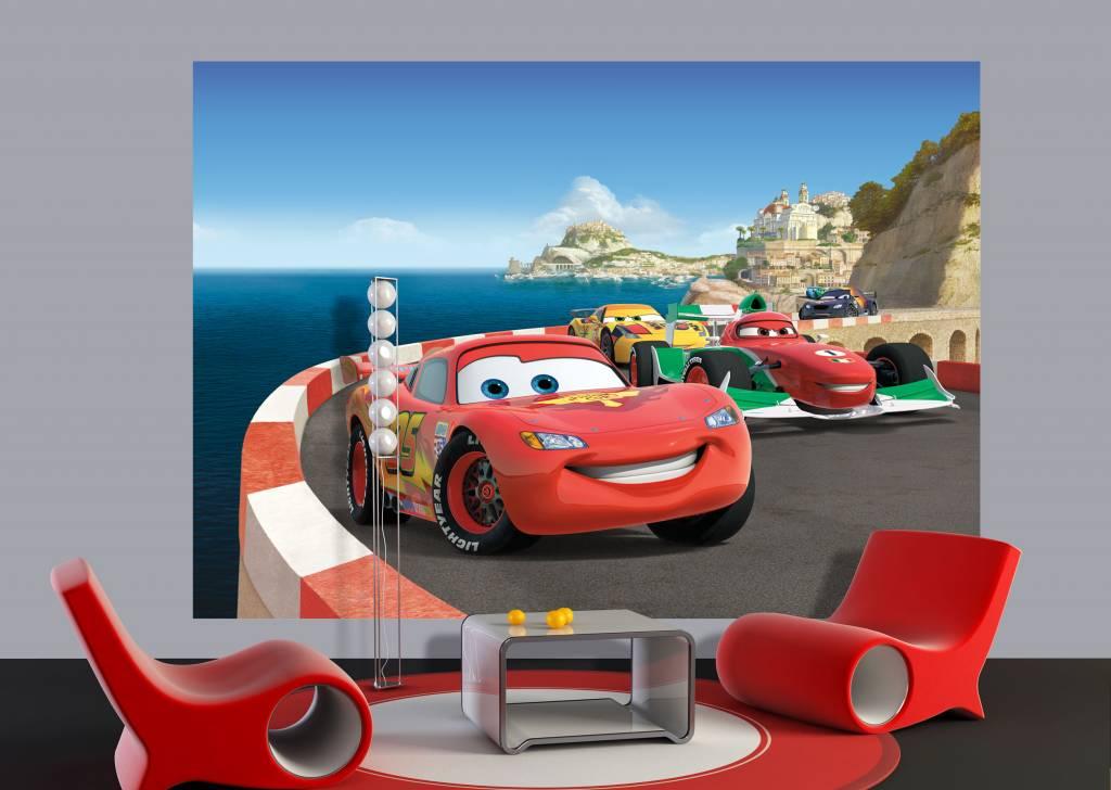 Behang Kinderkamer Vliegtuigen : Fotobehang AG Design Cars 2 Race 2D ...