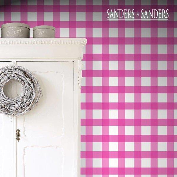 Sanders & Sanders HD vliesbehang ruit hard roze