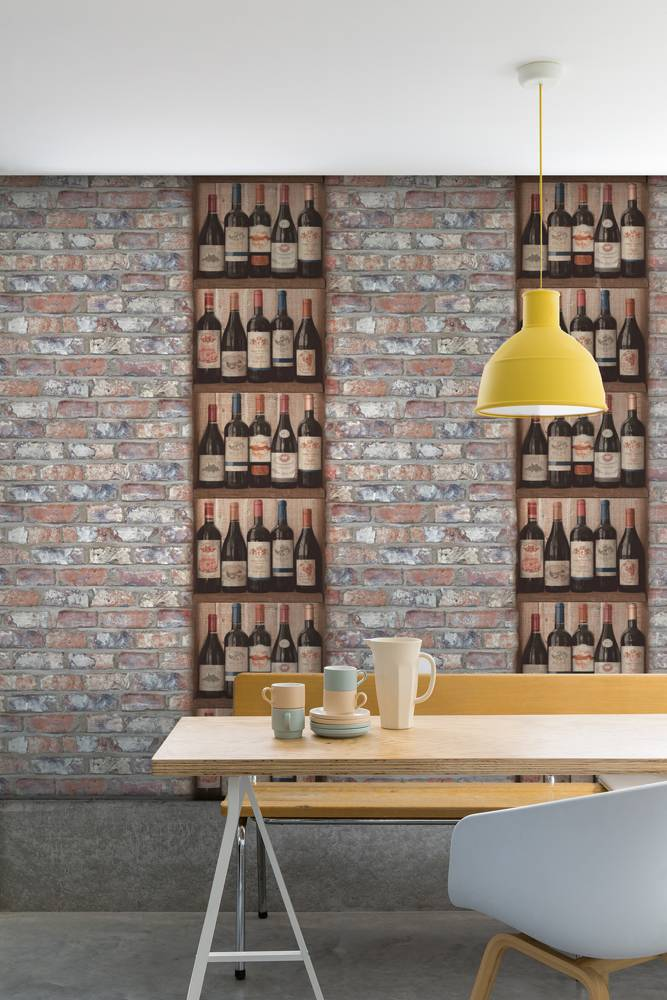 Dutch wallcoverings exposed warehouse baksteen beige blauw for Behang per m2