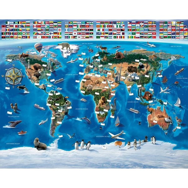 Dutch Wallcoverings Walltastic Map of the World 12 delig