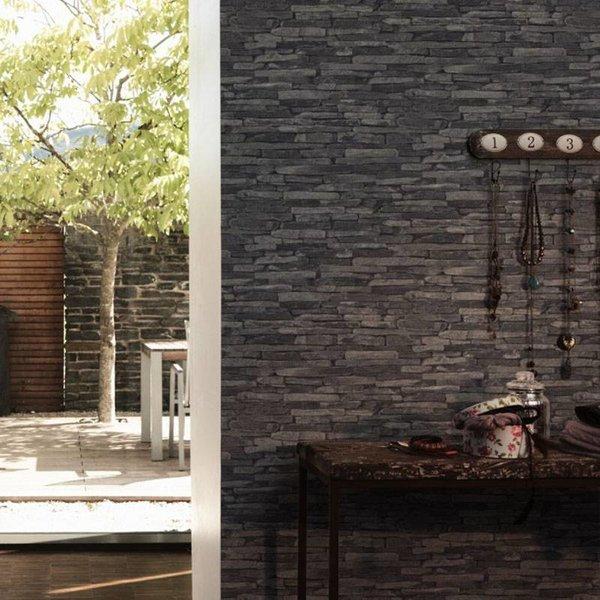 as creation steen behang wood n stone 914224 - Hout Behang Slaapkamer