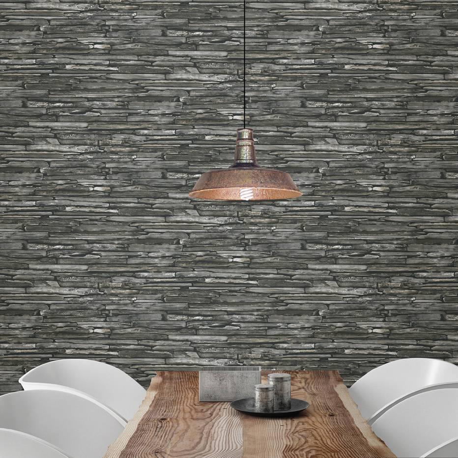 dutch wallcoverings reclaimed leisteen behang grij - Grijs Groen Behang