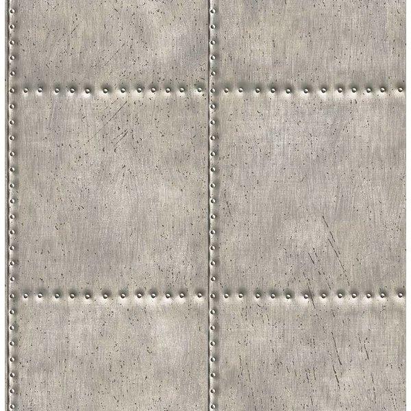 Reclaimed geborsteld metaal behang grijs