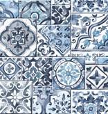 Dutch Wallcoverings Reclaimed mozaïek tegel behang blauw wit