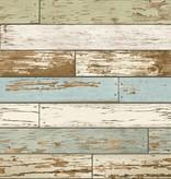 Dutch Wallcoverings Reclaimed verweerd hout beige blauw