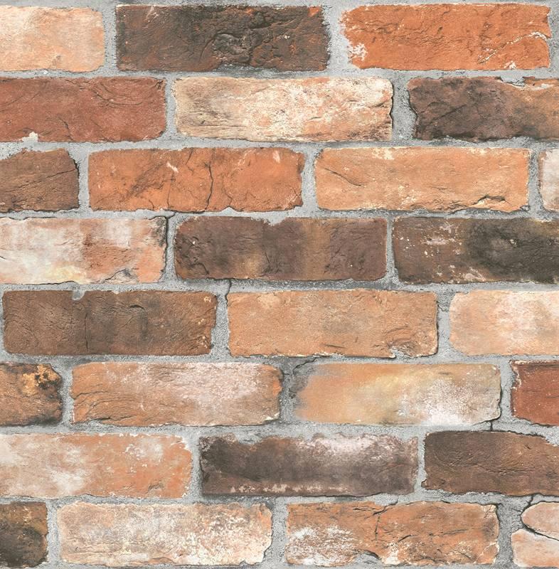 Dutch wallcoverings reclaimed baksteen behang bruin de for Behang per m2