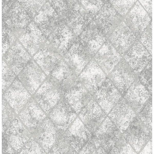 Reclaimed metallic behang grijs