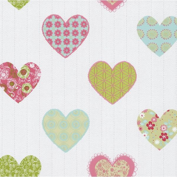 Dutch Wallcoverings Happy Kids hartjes groen roze