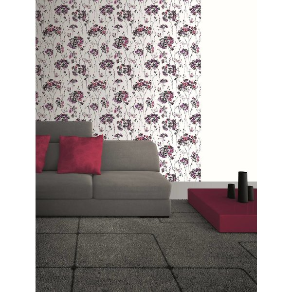 Dutch Wallcoverings Soft & Natural bloem vlinder zwart paars