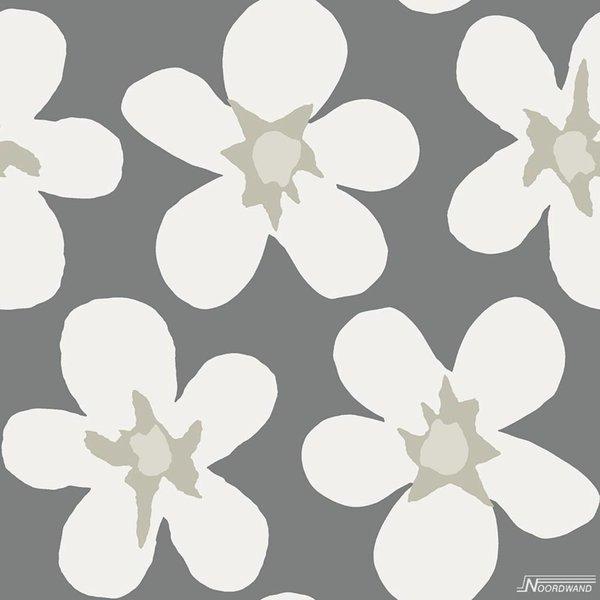 Cozz Smile big flower grijs off-white
