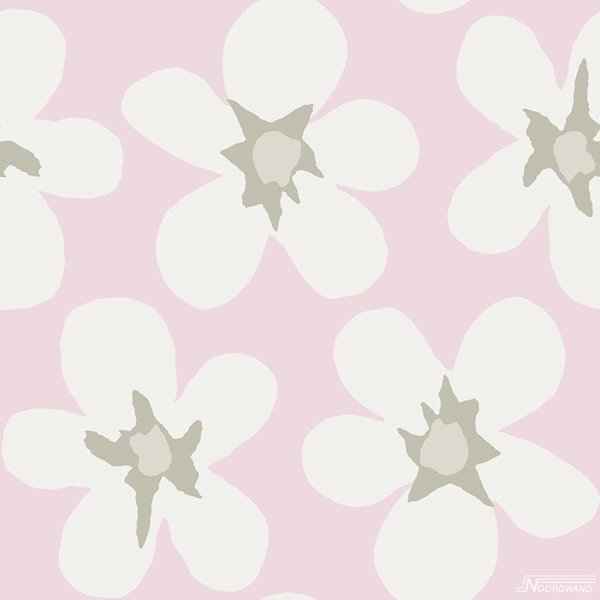 Noordwand Cozz Smile big flower off-white roze 61172-04