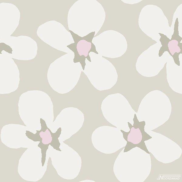 Noordwand Cozz Smile big flower zandbeige roze 61172-00