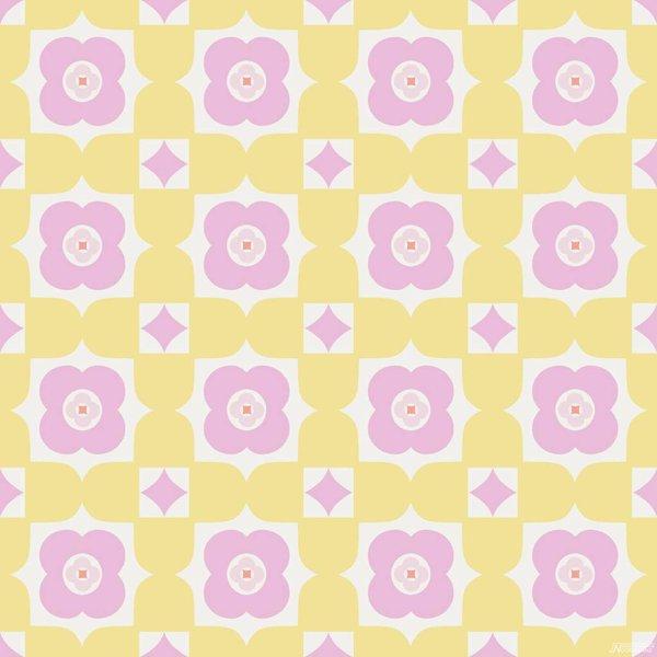Noordwand Cozz Smile retro floral geel roze