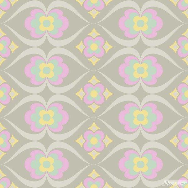 Noordwand Cozz Smile retro roze mint geel