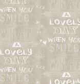 Noordwand Cozz Smile geschreven krijtbord beige 61166-00