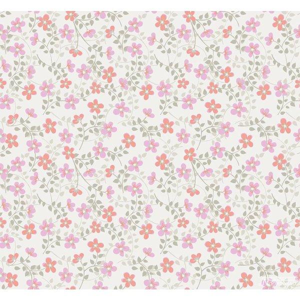 Cozz smile bloemetjes behang roze koraalrood 61163 14 de for Goedkoop glasvliesbehang