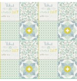 Noordwand Cozz Smile patchwork mint blauw 61171-03