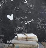 Noordwand Cozz Smile geschreven krijtbord zwart 61169-16