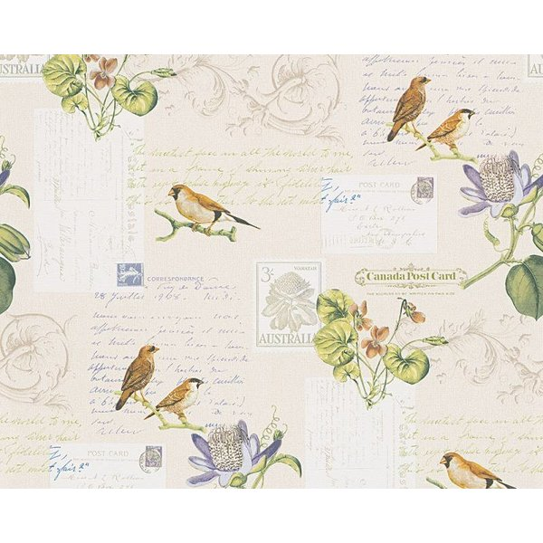 A.S. Creation Dekora Natur paper bird geel