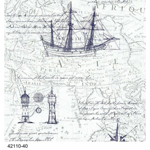 Dutch Wallcoverings Royal Dutch 7 Maritiem wit blauw 42110-40