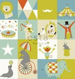 Esta for Kids Everybody Bonjour krijtverf Circus behang blauw/groen 128704