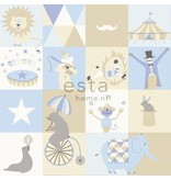 Esta for Kids Everybody Bonjour Circus behang blauw/beige 138710