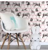 Esta for Kids Everybody Bonjour dieren behang roze 138722