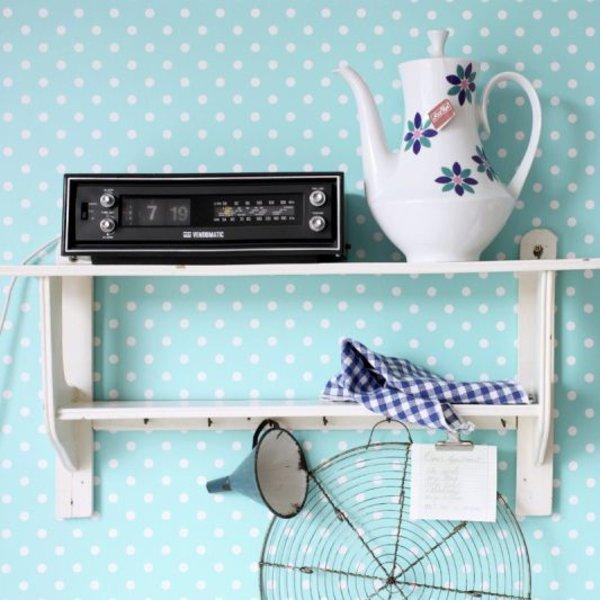 Esta for Kids Everybody Bonjour Stippen behang turquoise 138102