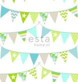 Esta for Kids Everybody Bonjour Vlaggetjes behang groen/blauw 138719