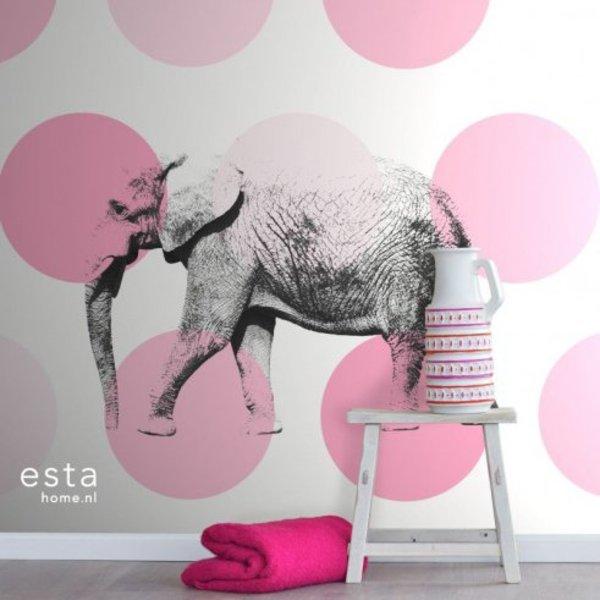 Everybody Bonjour PhotowallXL Elephant Roze